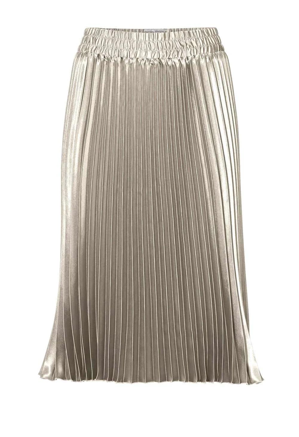 297.197a RICK CARDONA Damen Designer-Plisseerock Silberfarben
