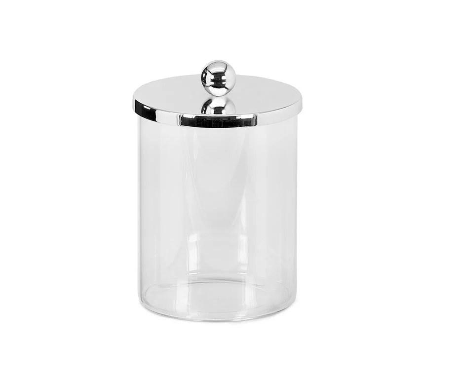 4021 Dose Glasdose Corby, Deckel edel versilbert, anlaufgeschützt, Höhe 16 cm, Durchmesser 10 cm