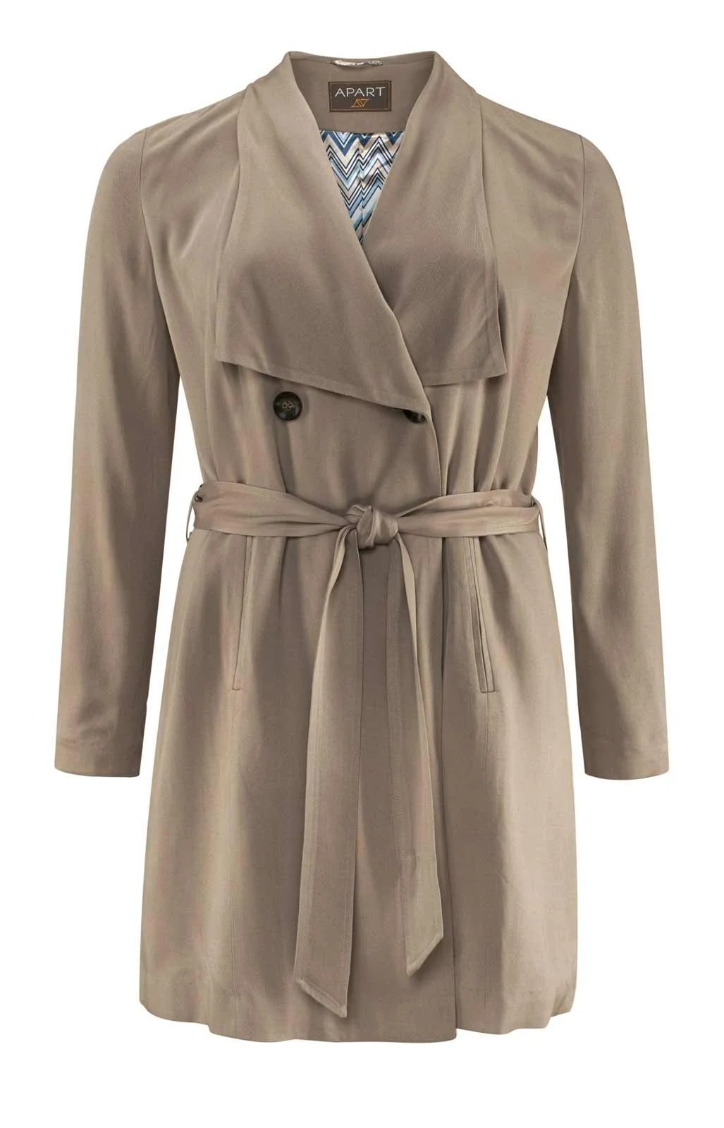 442.535 APART Damen Designer-Trenchcoat Taupe Mantel Bindegürtel Trench Viskose Top