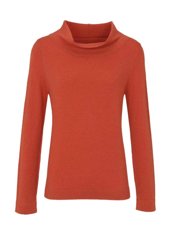 608.409 ASHLEY BROOKE Damen Designer-Pullover Orange großer Rollkragen Rolli Kaschmir