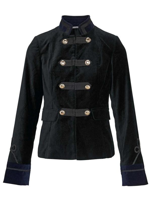 639.221 ASHLEY BROOKE Damen Designer-Samtblazer Kurzblazer Military Style Schwarz-Marine