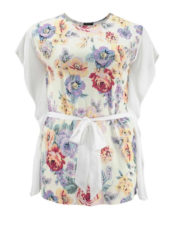 663.354 APART Damen Designer-Tunika-Shirt Ecru-Bunt