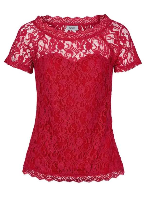 671.518 HEINE Damen Designer-Spitzenshirt Rot