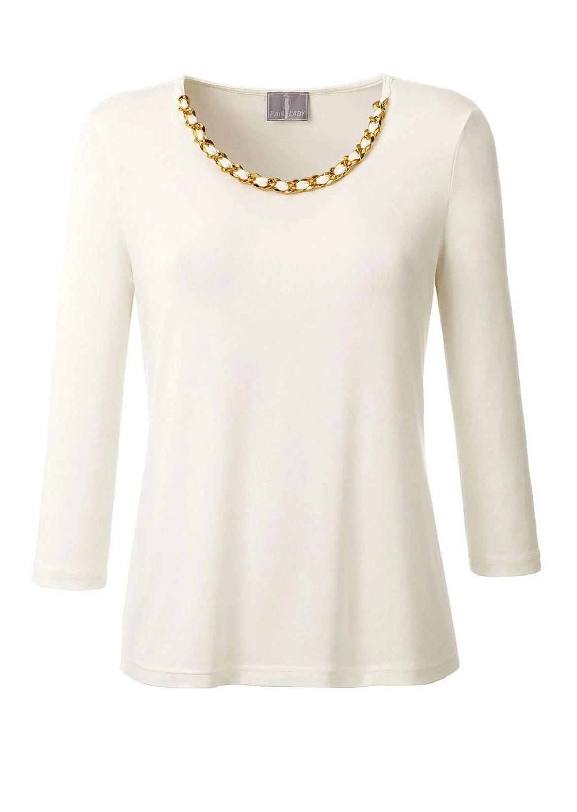 688.096 Fair Lady Jerseyshirt mit Schmuckkette, wollweiß