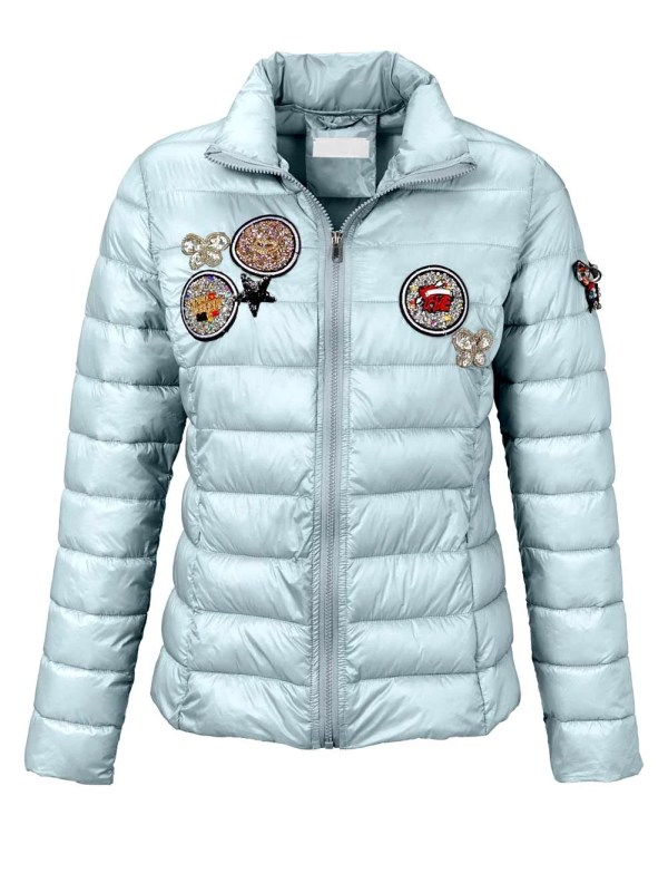696.848 RICK CARDONA Damen Designer-Steppjacke Pailletten Stickerei Patches Eisblau