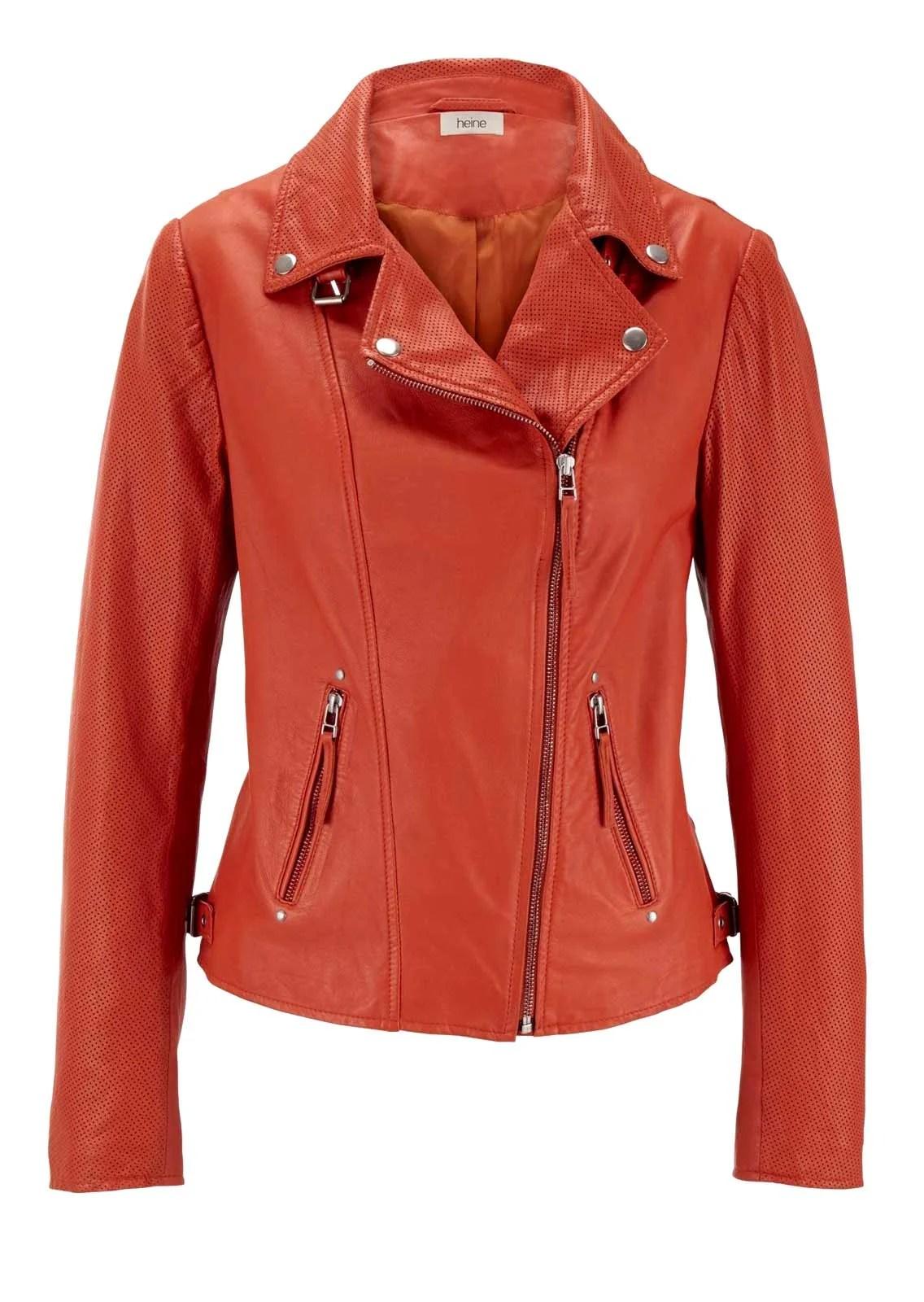 712.646 HEINE Damen Designer-Lammnappa Lederjacke Biker Orange Kurz