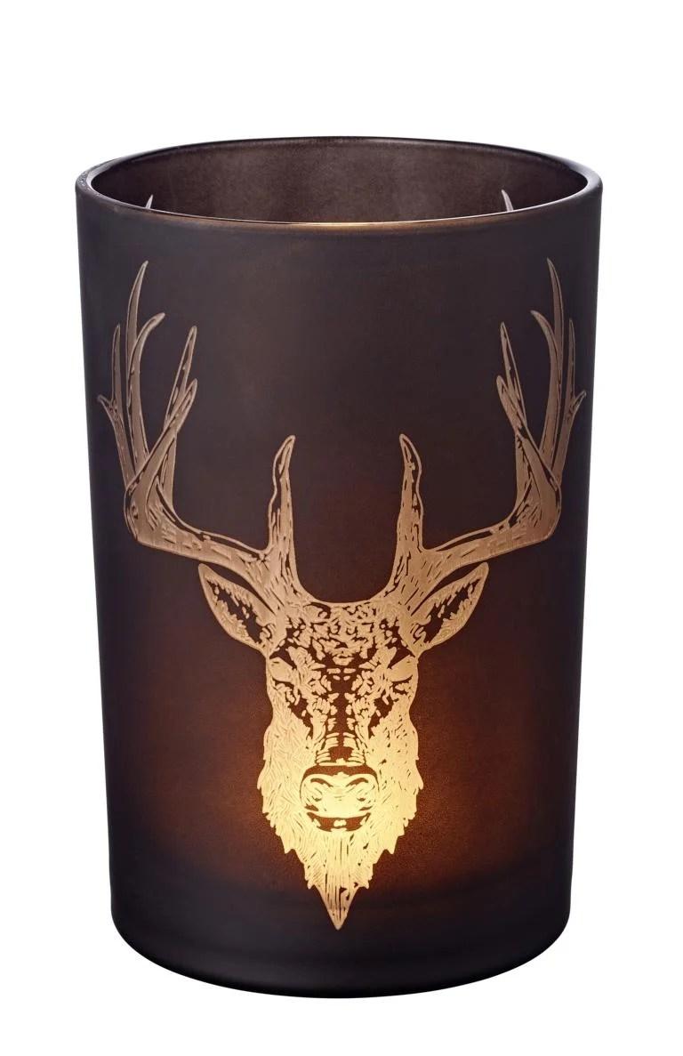 7171 Edzard Windlicht Schwarz Glas Hirsch Kopf Geweih Alex Teelichtglas18 cm