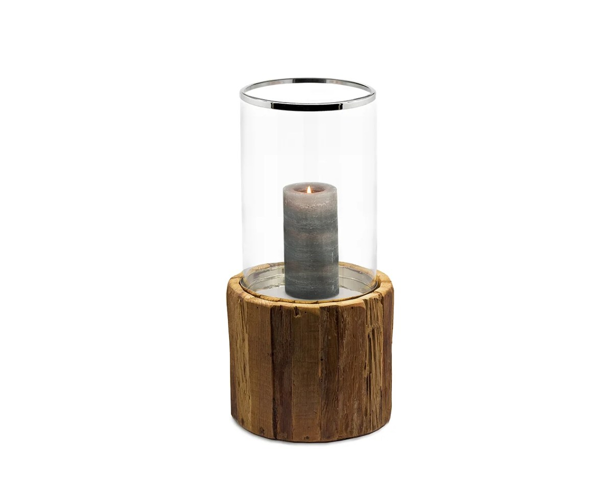 7351 Edzard Windlicht Kerzenhalter Holz Glas Groß Greyburn Glaszylinder Teakholz