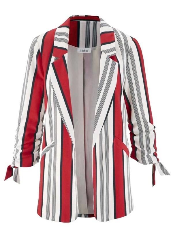902.273 HEINE Damen Designer-Blazer Schwarz-Weiß-rot Business Blazerjacke