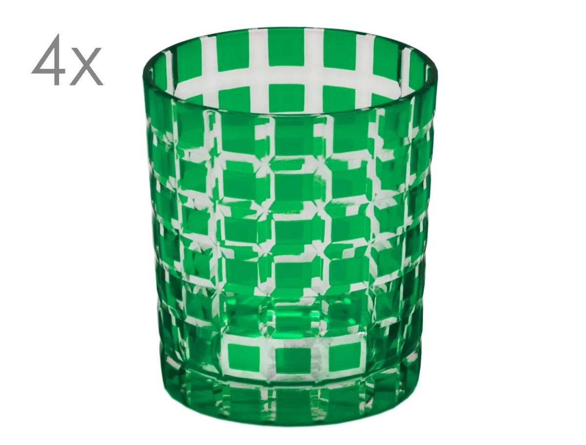 8060 4er Set Kristallgläser Marco, grün, handgeschliffenes Glas
