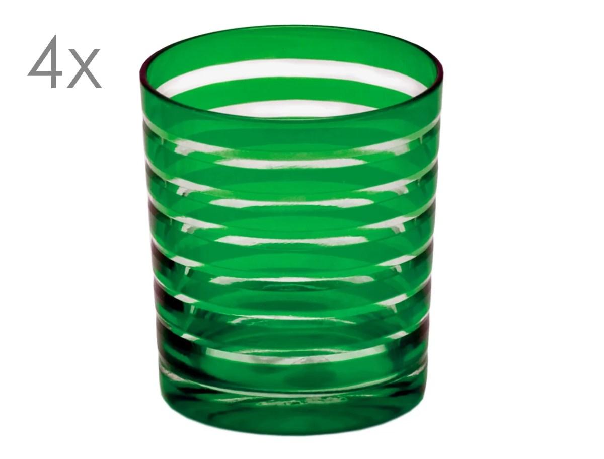 8066 4er Set Kristallgläser Nelson, grün, handgeschliffenes Glas
