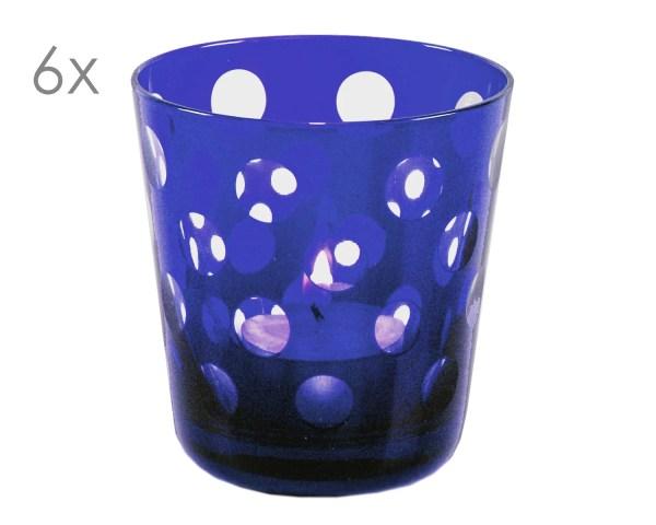 8040 6er Set Kristallgläser Bob, blau, handgeschliffenes Glas