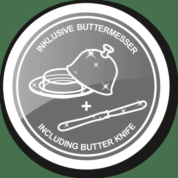 2403 Butterdose Butterglocke Hirsch, Durchmesser 14 cm, edel versilbert, mit passendem Buttermesser 18 cm