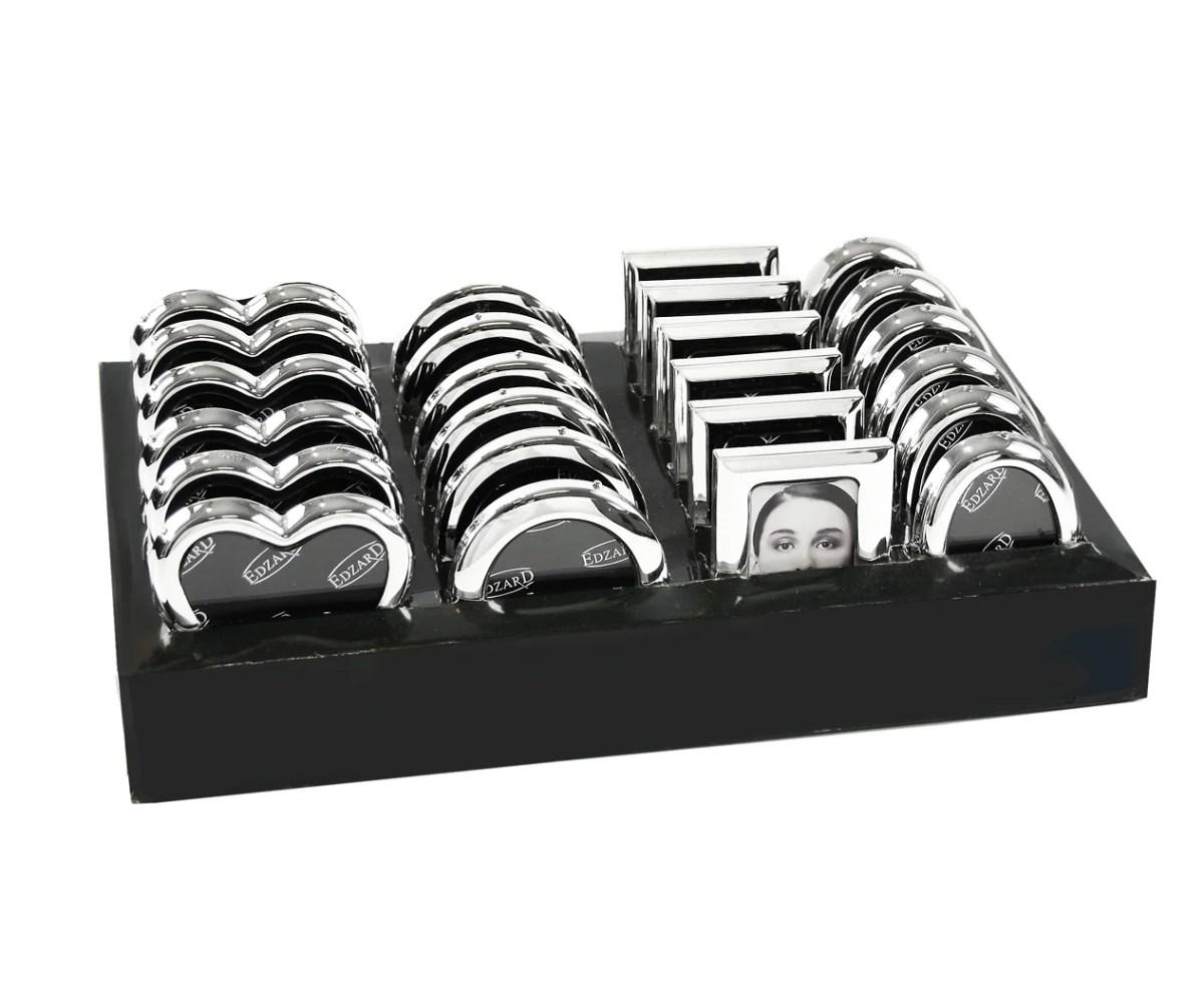 2963 Edzard Fotorahmen 24 Mini Bilderrahmen Set f. Fotos 5 x 8 cm Silber Versilbert