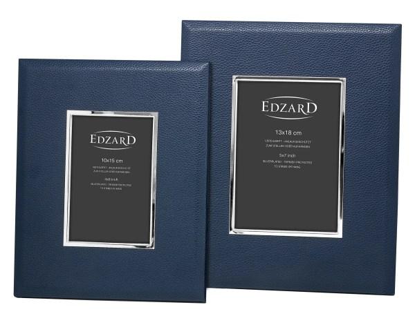 2905 EDZARD Fotorahmen Bilderrahmen Bert für Foto 10 x 15 cm, Lederoptik dunkelblau