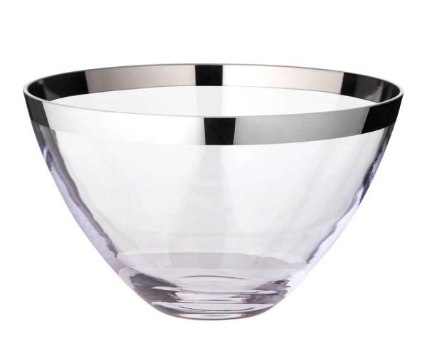1220 Schale Dekoschale Holly, mundgeblasenes Kristallglas mit Platinrand, Durchmesser 30 cm
