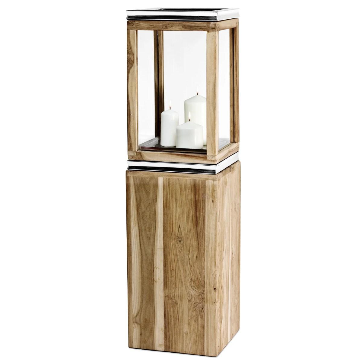 7461 Sockel für Laterne Dubai, Teakholz und Edelstahl glänzend vernickelt, Höhe 61 cm, Gewicht 7,4 kg
