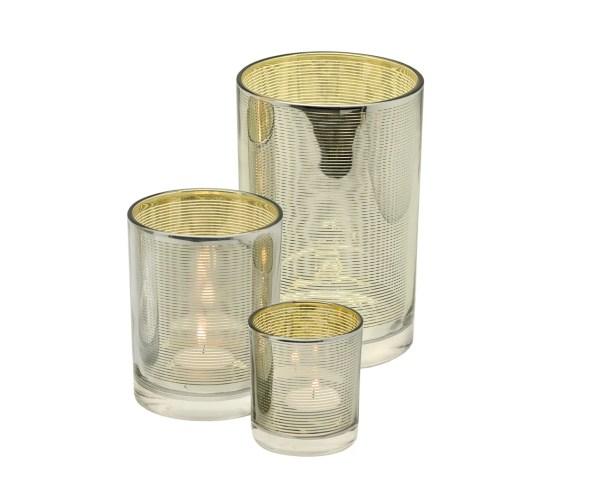 7142 Edzard Teelichtglas Teelichthalter Teelicht Hauke Glas Silber Gold Höhe 18 cm