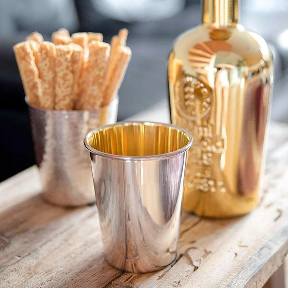 3095 Trinkbecher Silberbecher Salta, schwerversilbert, innen Goldoptik (Messing poliert), Höhe 10 cm