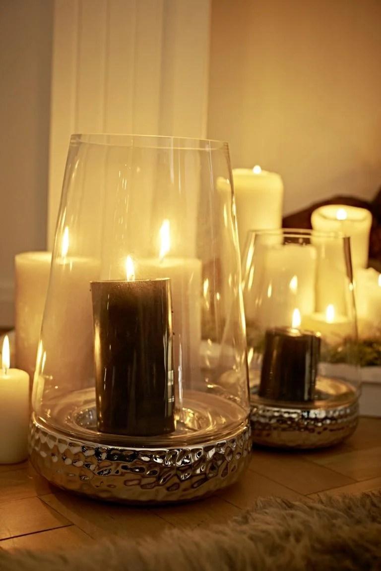 7057 Windlicht Kerzenglas Bora, Hammerschlag Optik, Glas und Keramik, Höhe 34 cm