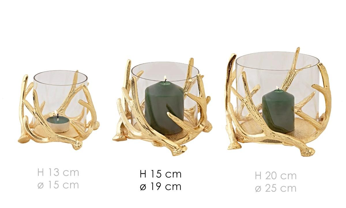 0547 Edzard Windlicht Glas Gold Deko Kingston Hirsch Geweih Kerzenhalter Höhe 15 cm