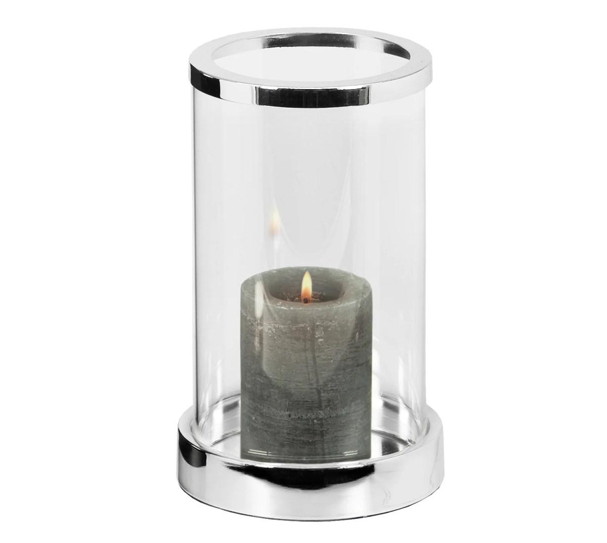 2840 Windlicht Sanremo, edel versilbert, anlaufgeschützt, Höhe 20 cm, Durchmesser 12,5 cm