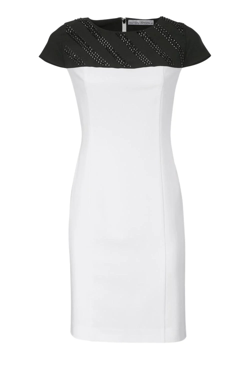 002.698 ASHLEY BROOKE Damen Designer-Patch-Etuikleid Ecru-Schwarz