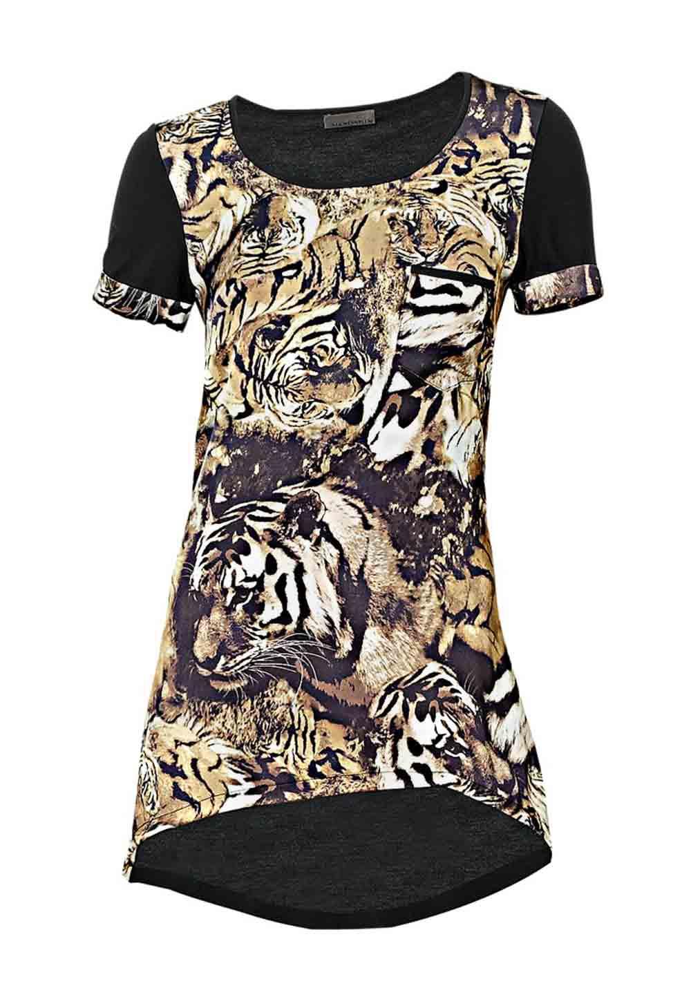 002.726 MANDARIN Damen-Animalprint-Shirt Schwarz-Goldfarben