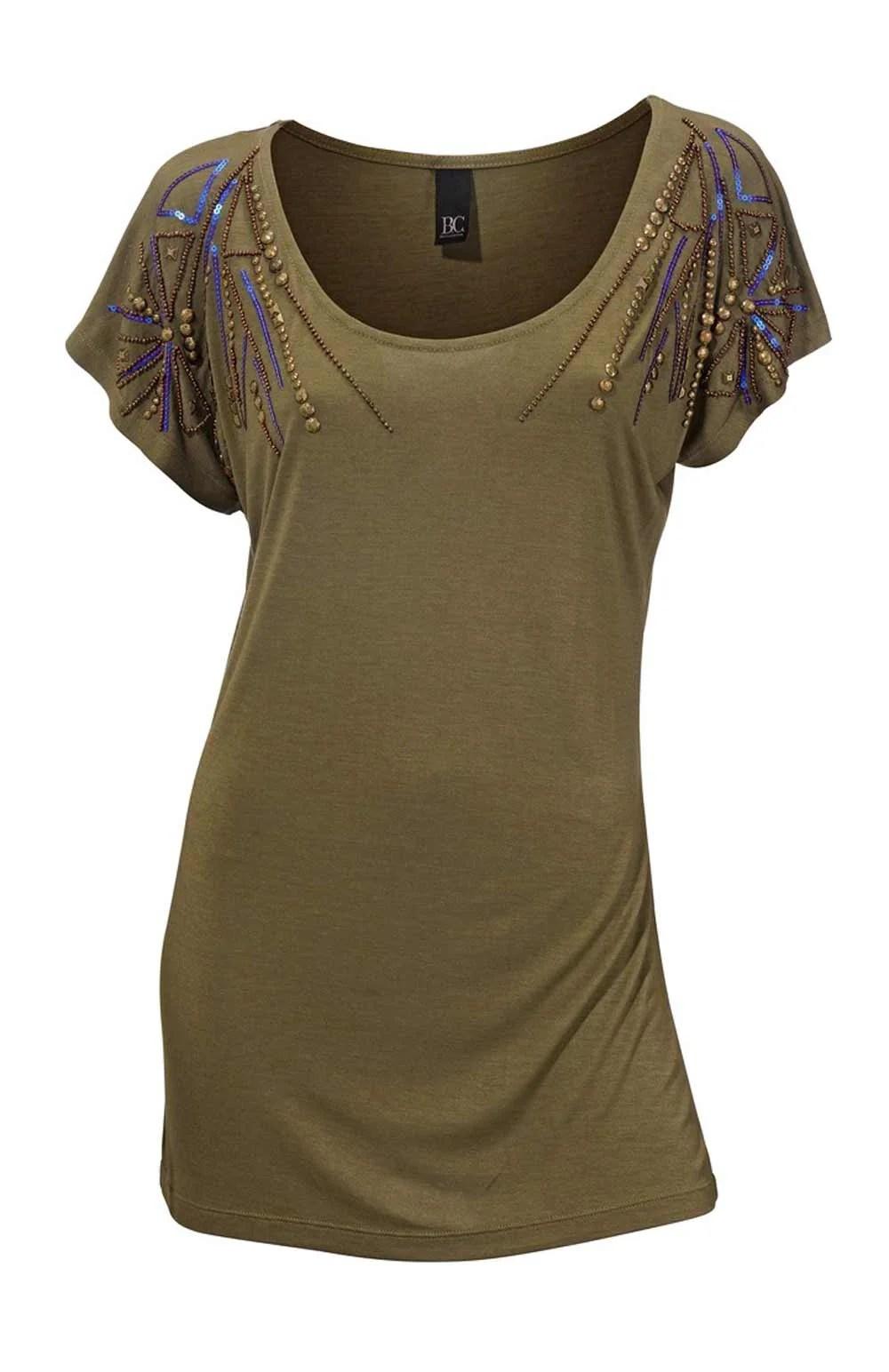 005.538a HEINE Damen Designer-Shirt m. Perlen Oliv