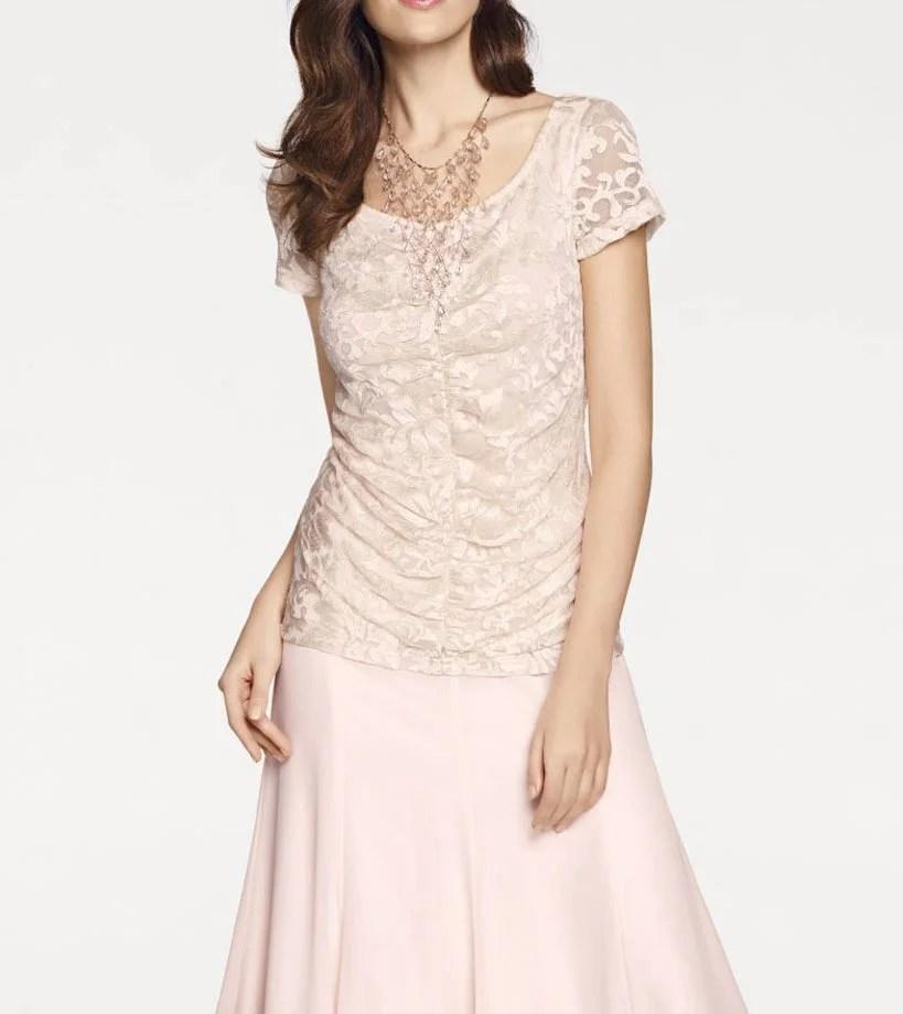 007.895 ASHLEY BROOKE Damen Designer-Spitzenshirt Rosé