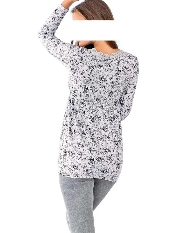 009.397 HEINE Damen Designer-Druckshirt m. Spitze Grau-Schwarz