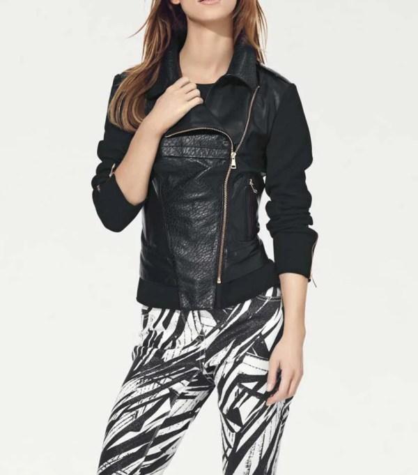 033.297 HEINE Damen Designer-Patchwork-Lederjacke Schwarz