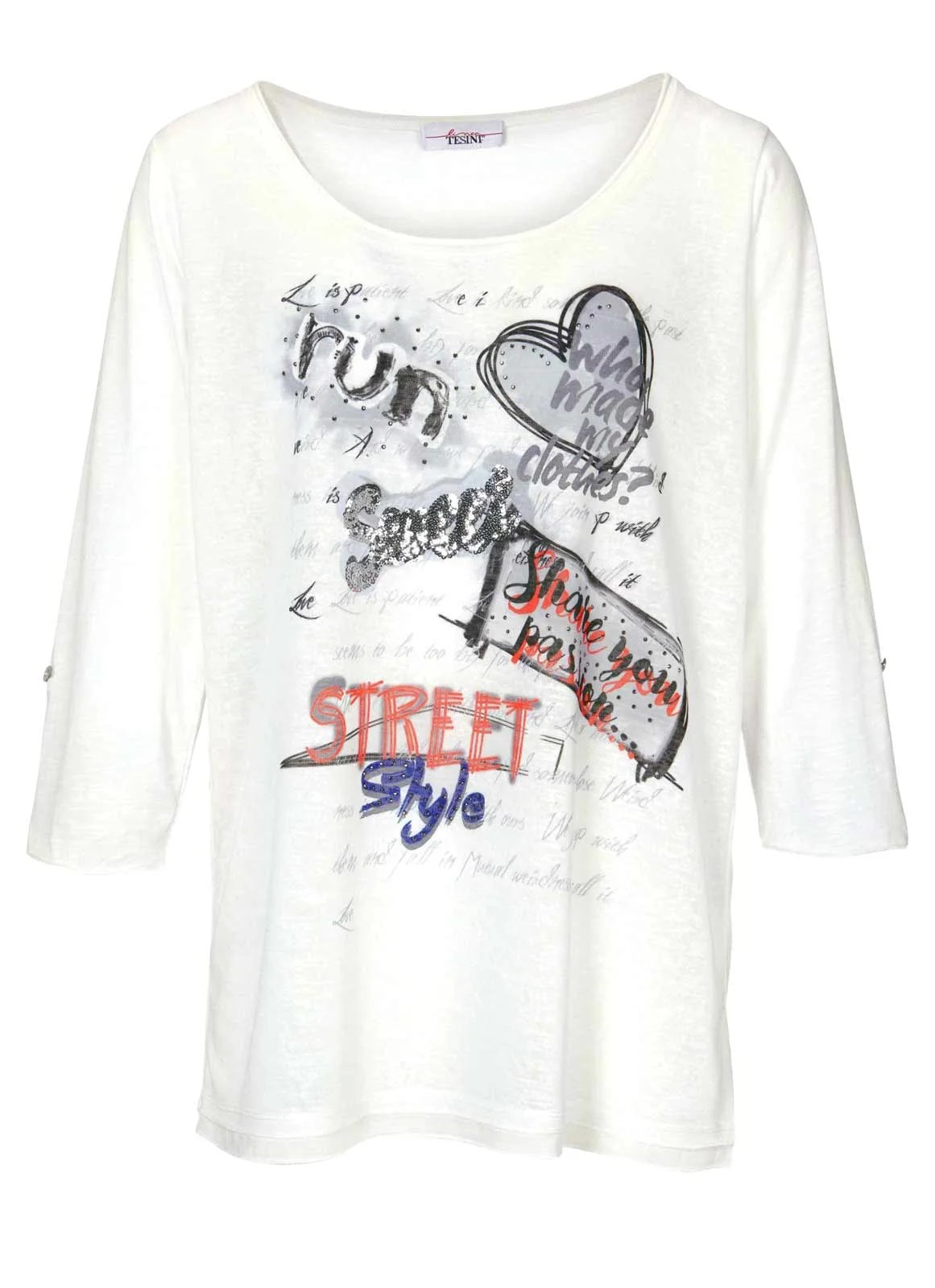 056.003 LINEA TESINI Damen Designer-Shirt m. Pailletten Offwhite