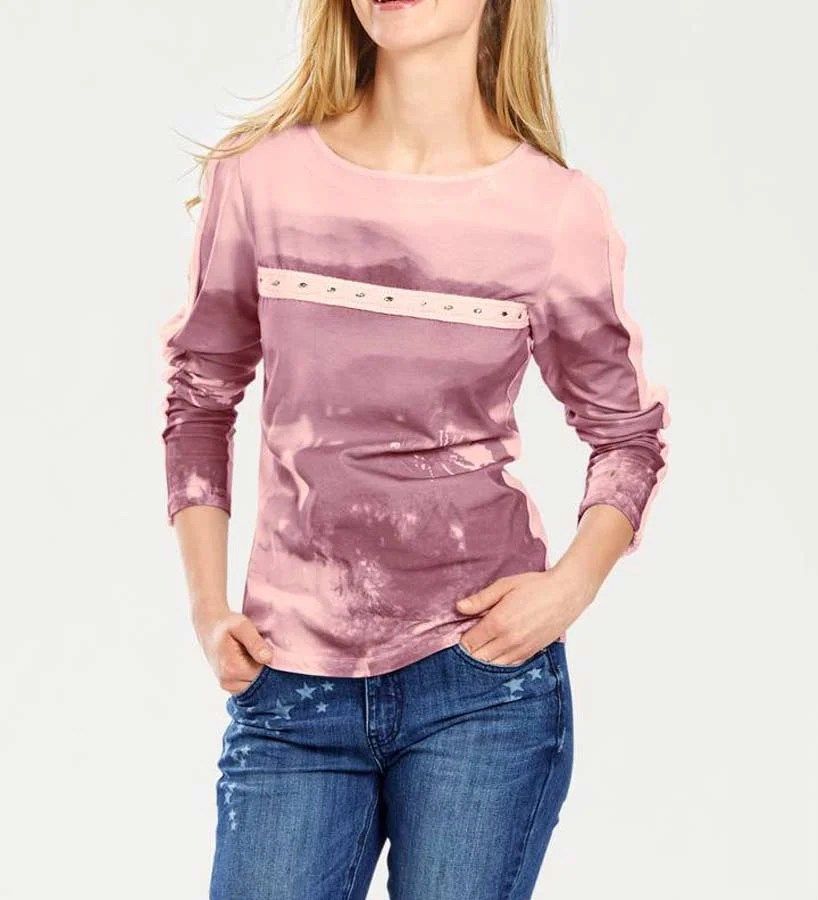 056.543 HEINE Damen Designer-Druckshirt Rosa