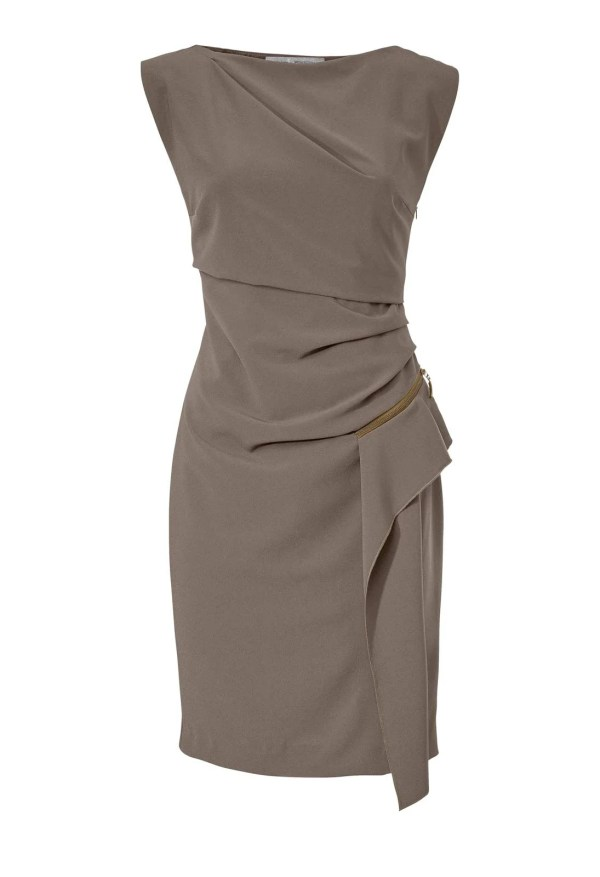 Damen Etuikleid Taupe von Ashley Brooke | Missforty