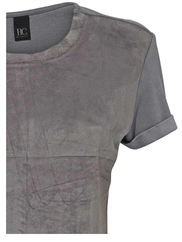 141.086 HEINE Damen Designer-Velourslederimitat-Shirt Grau