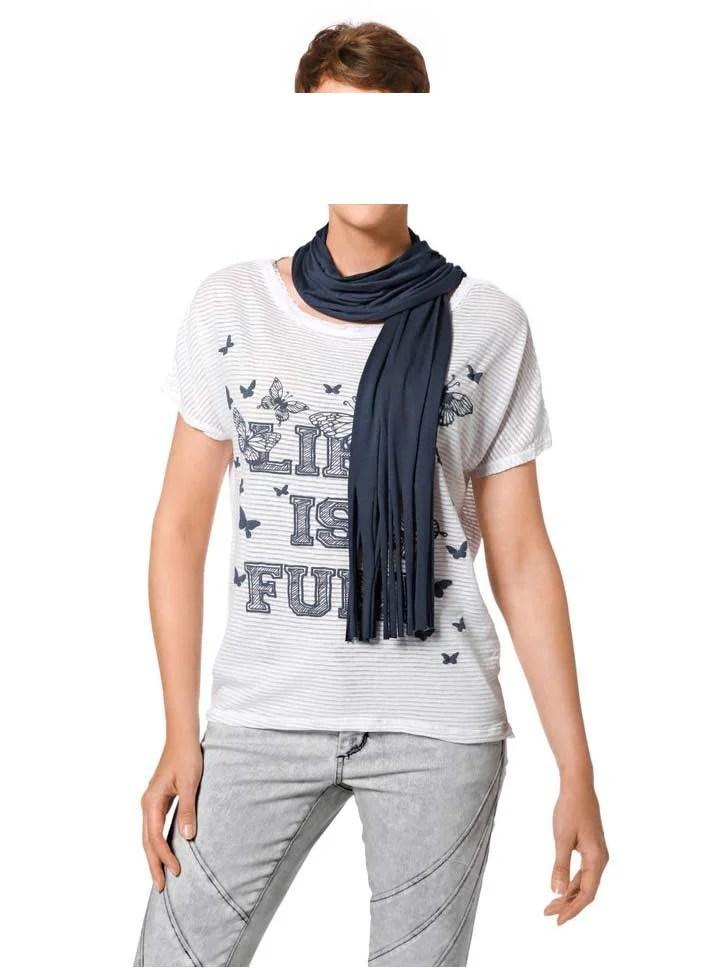 147.432 HEINE Damen Designer-Shirt + Schal Weiß-Blau