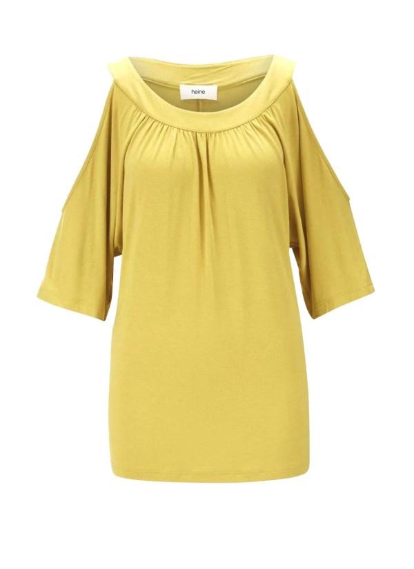 224.501 HEINE Damen Designer-Jerseyshirt m. Cut-Outs Gelb