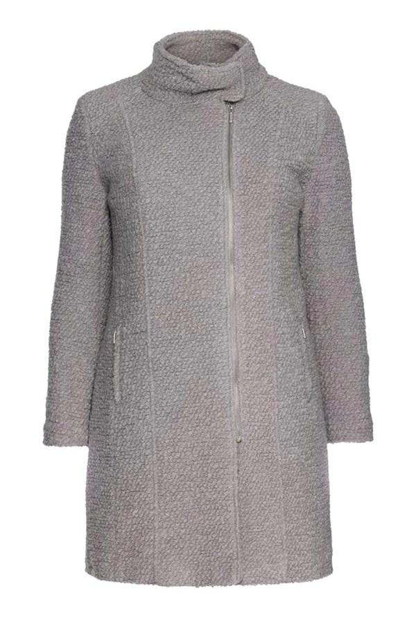 402.028 SHEEGO Damen Marken-Bouclémantel Hellgrau Grau Wollmantel Warm