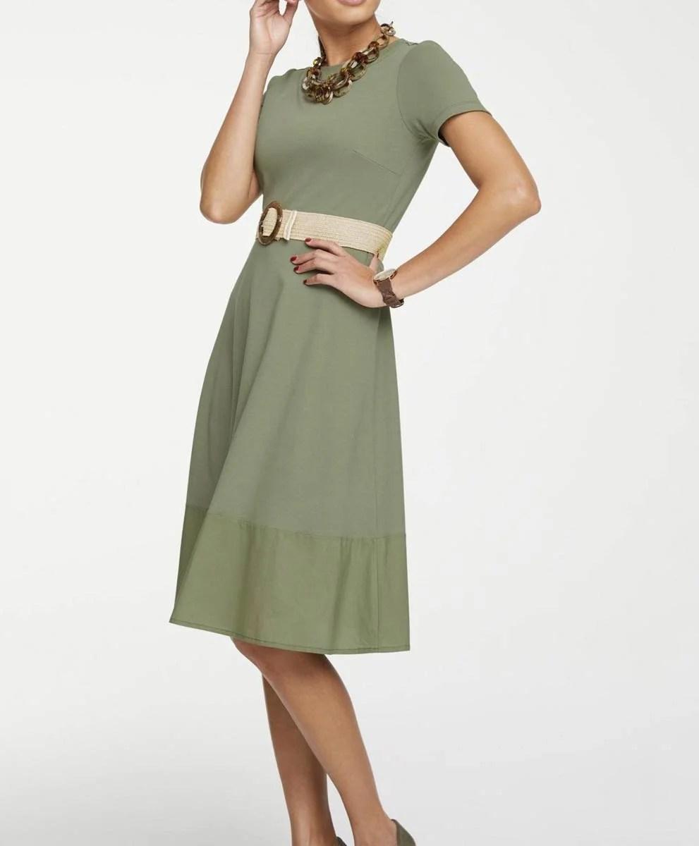 538.981 HEINE Damen Designer-Jerseykleid Schlifgrün
