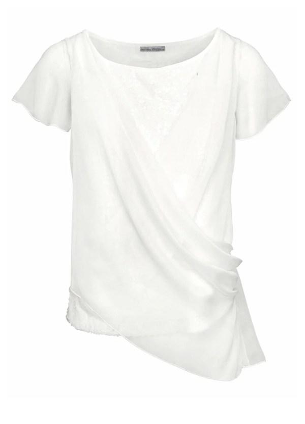 587.770 ASHLEY BROOKE Damen Designer-Shirt m. Pailletten Weiß