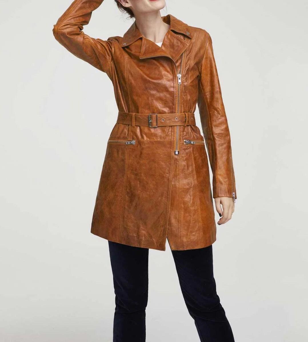 674.362 HEINE Damen Designer-Lammnappa-Ledermantel Mantel Echt Leder 44 Cognac Braun