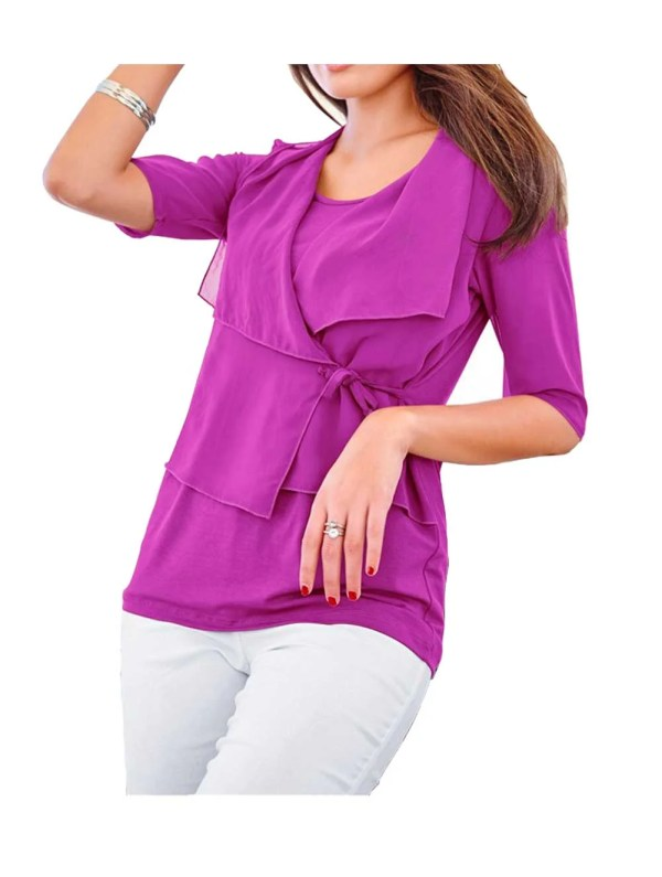 719.147 VIVANCE COLLECTION Damen-Shirt m. Chiffon Fuchsia