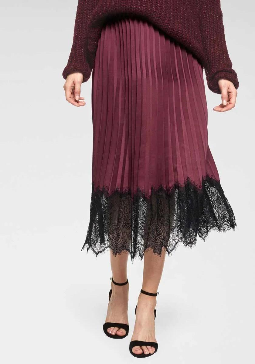 920.979 GUIDO MARIA KRETSCHMER Damen Designer-Plisseerock Bordeaux-Schwarz