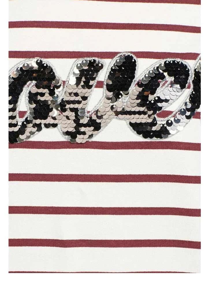 126.419 VERO MODA Damen Marken-Sweatshirt Weiß-Bordeaux
