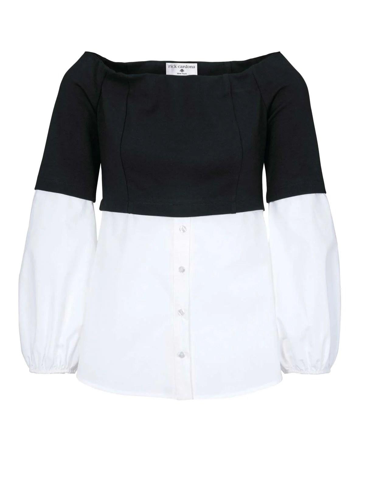 306.134 RICK CARDONA Damen Designer-2-in-1-Blusen-Sweatshirt Schwarz-Weiß