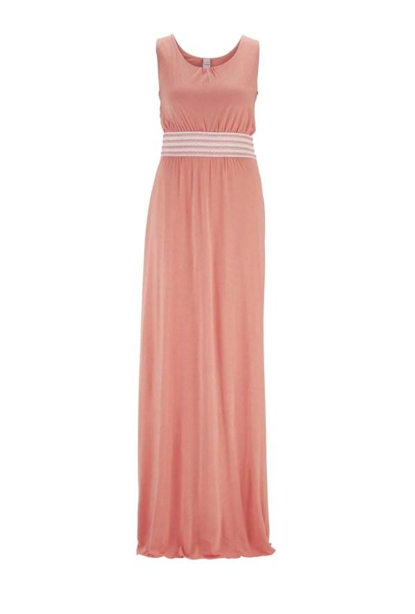 487.566 HEINE Damen Designer-Jersey Kleid Maxikleid Pfirsich