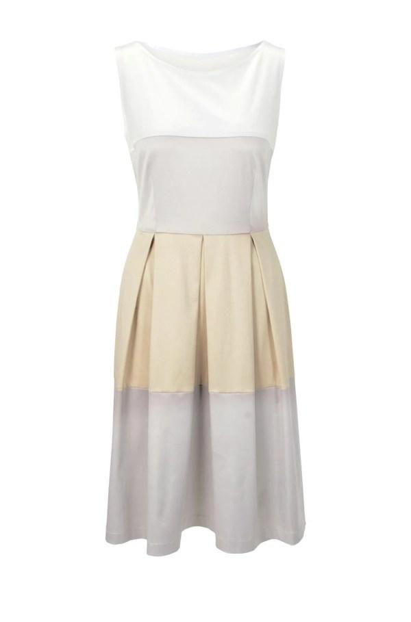 578.346 HEINE Prinzesskleid Damenkleid Sommer Satin weiß-grau-beige