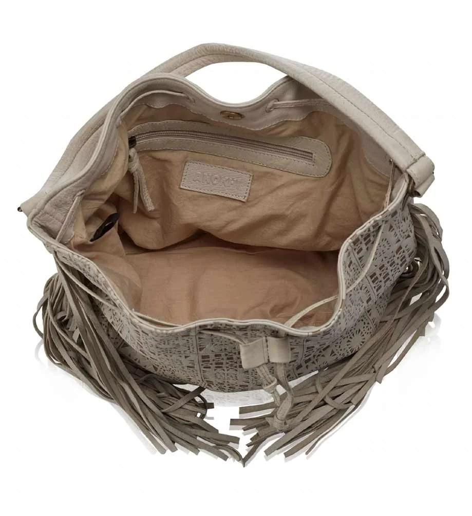 803.943 ANOKHI Damentasche Lederbeutel Beuteltasche echt Leder Shopper ecru-beige