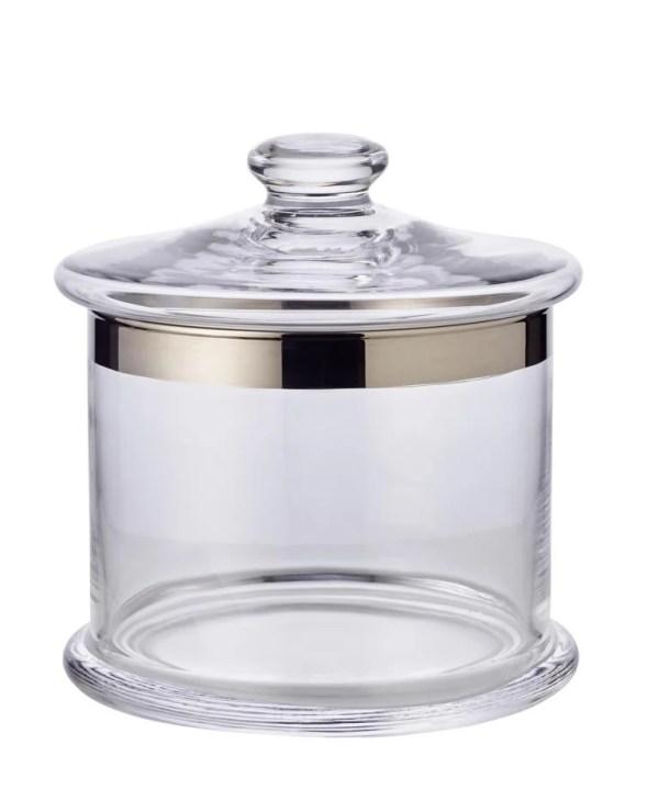 """1255 Glasdose Bonboniere """"Erik"""" Kristallglas mit Platinrand, Höhe 21,5 cm"""